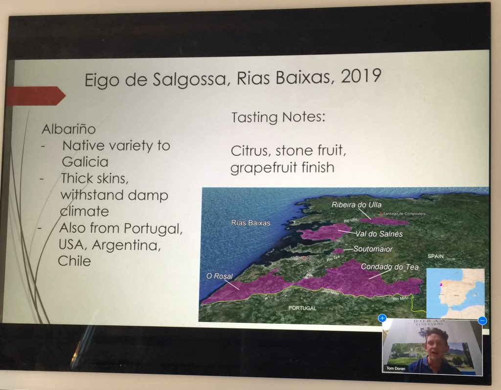 Tom illustrates his talks with maps and tasting notes