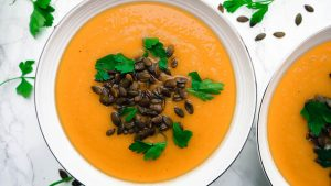 Roasted Butternut Squash and Apple Soup with Spiced Pumpkin Seeds