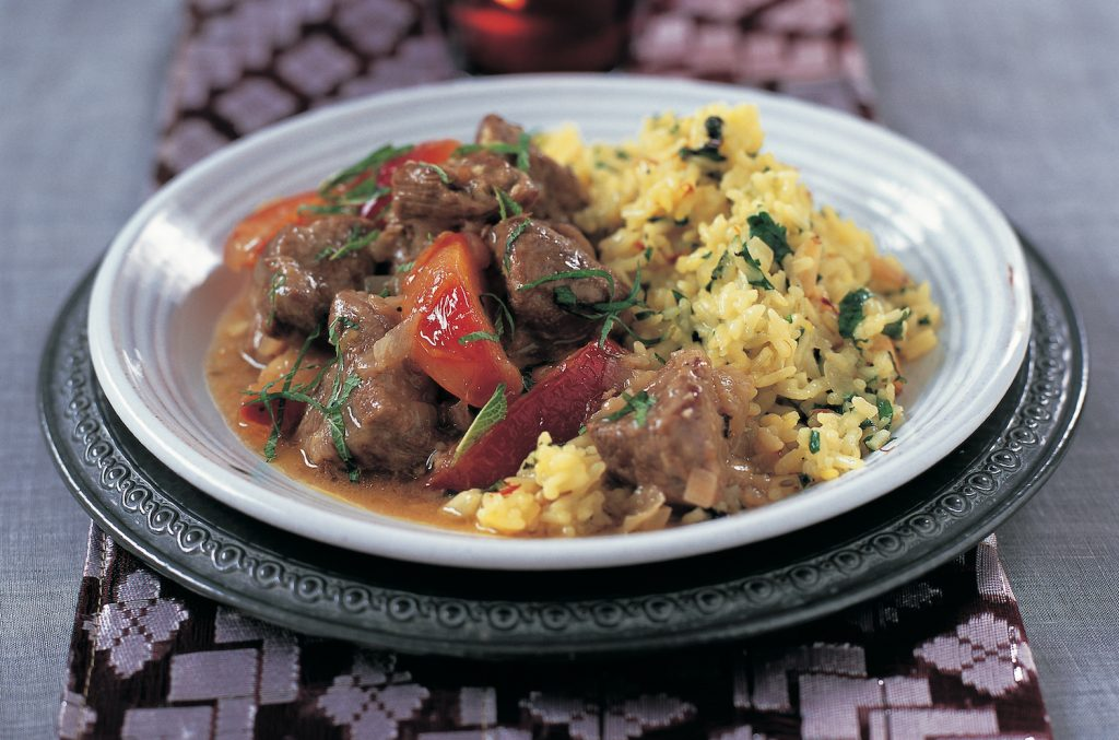 Lamb and plum stew serve