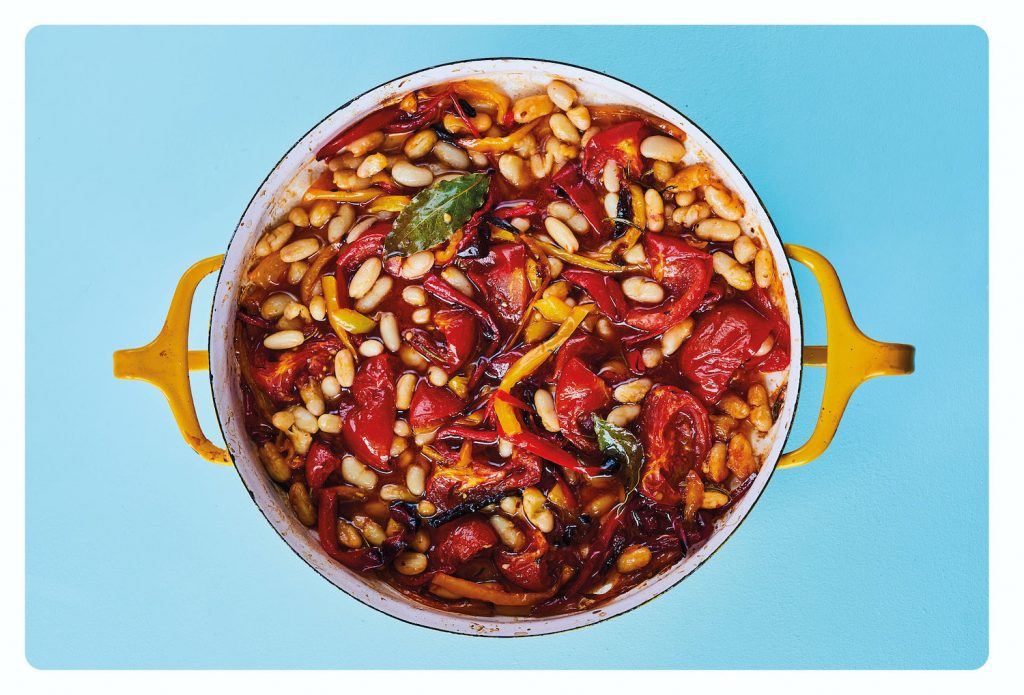 Slow Roasted Peppers with Chilli, Lemon & Garlic Beans
