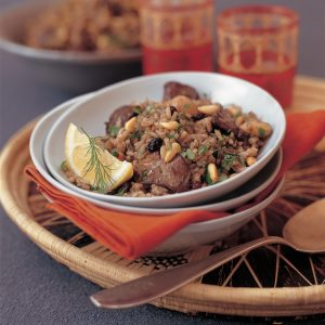 Chicken Liver Pilaff With Currants, Pine Nuts And Almonds (Serves four to six)